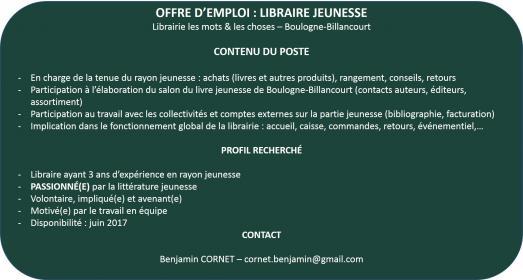 recherche emploi librairie