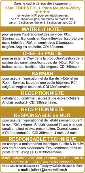 recherche emploi receptionniste hotel
